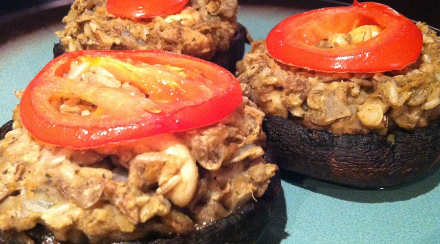 Vegan Stuffed Portobello Mushrooms (GF, DF, SF, V, V+)